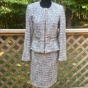 Calvin Klein black and white skirt suit size 2